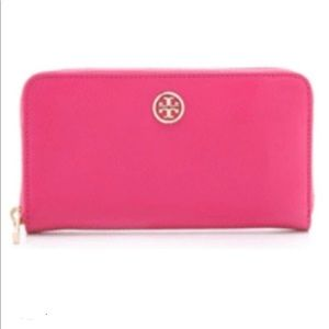 Tory Burch Robinson Continental Zip Wallet Pink